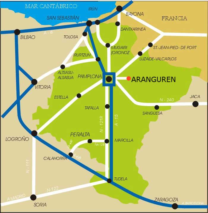 Ubicación de Aranguren en Navarra